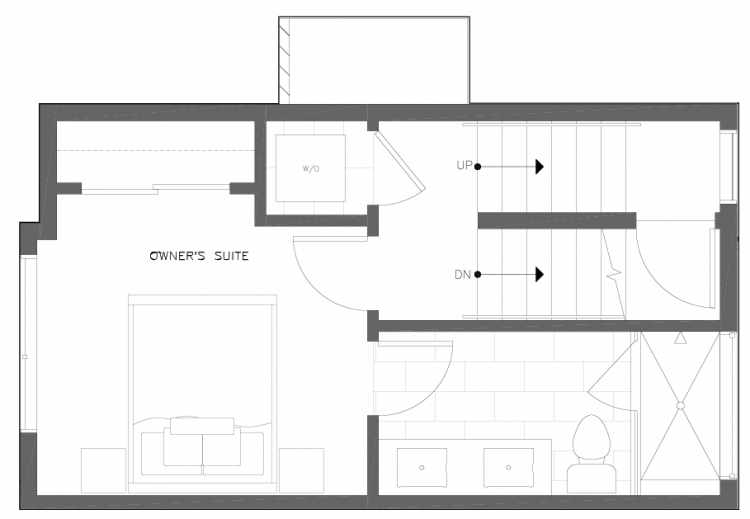 Third Floor Plan of 6317E 9th Ave NE, One of Zenith Towns North by Isola Homes
