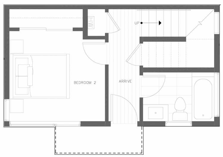 First Floor Plan of 6317F 9th Ave NE, One of Zenith Towns North by Isola Homes