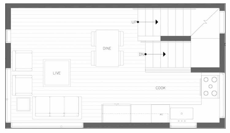 Second Floor Plan of 6317F 9th Ave NE, One of Zenith Towns North by Isola Homes