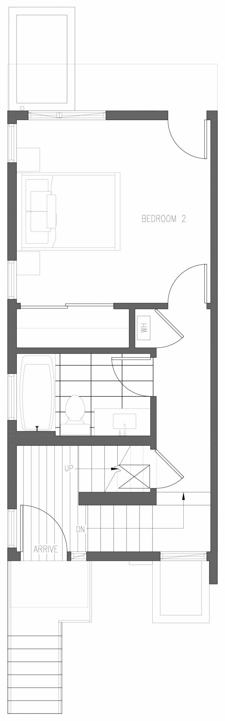 First Floor Plan of 6411 14th Ave NW, One of the Oleana Townhomes in Ballard by Isola Homes