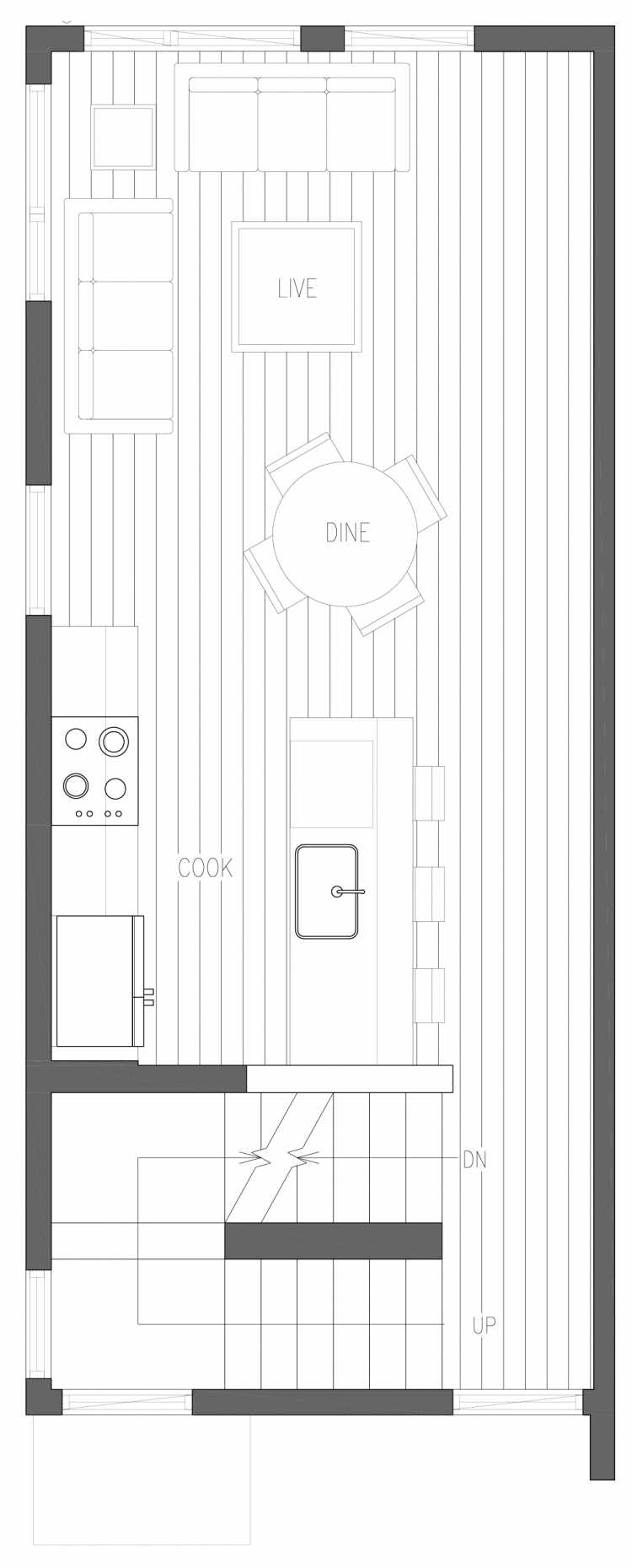 Second Floor Plan of 6411 14th Ave NW, One of the Oleana Townhomes in Ballard by Isola Homes