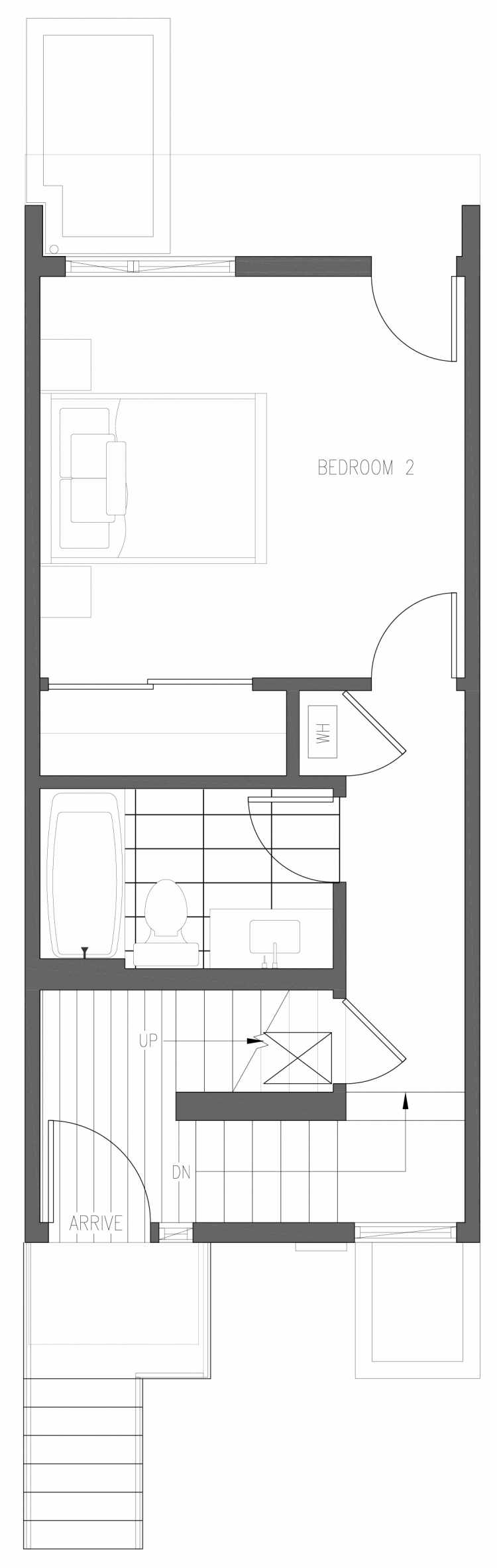 First Floor Plan of 6417 14th Ave NW, One of the Oleana Townhomes in Ballard by Isola Homes