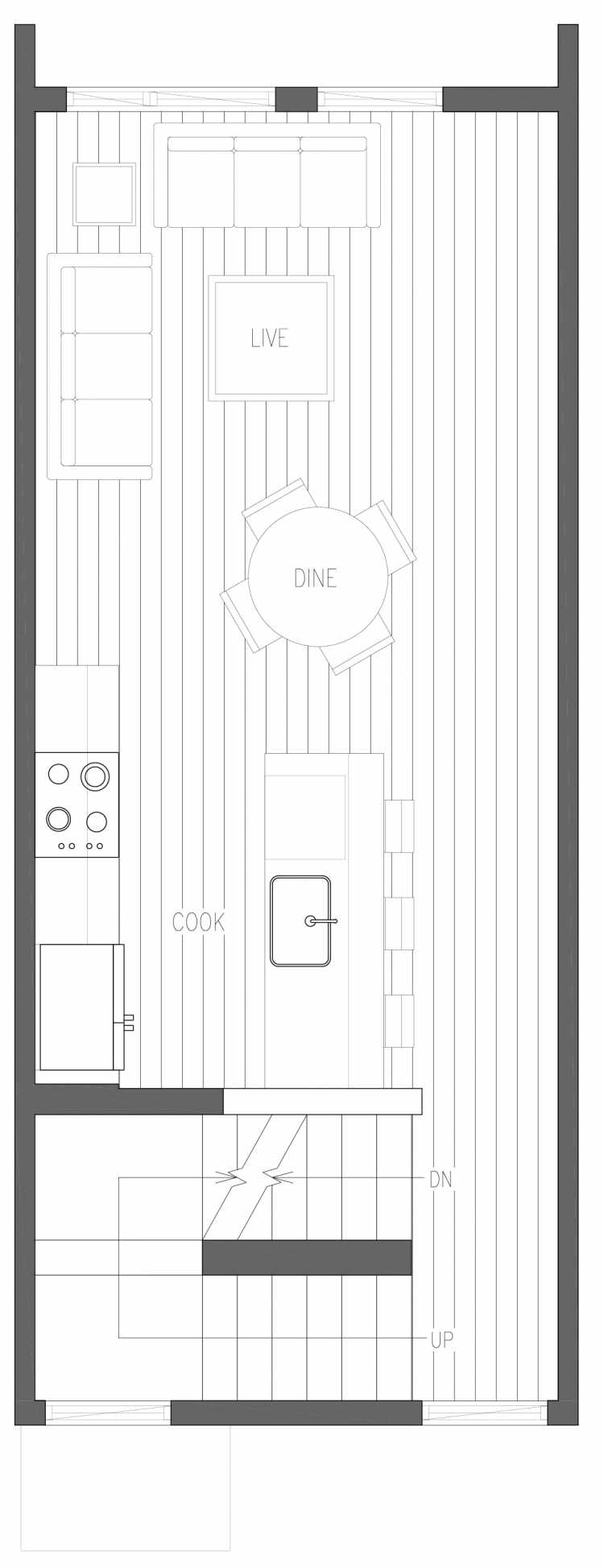 Second Floor Plan of 6419 14th Ave NW, One of the Oleana Townhomes in Ballard by Isola Homes