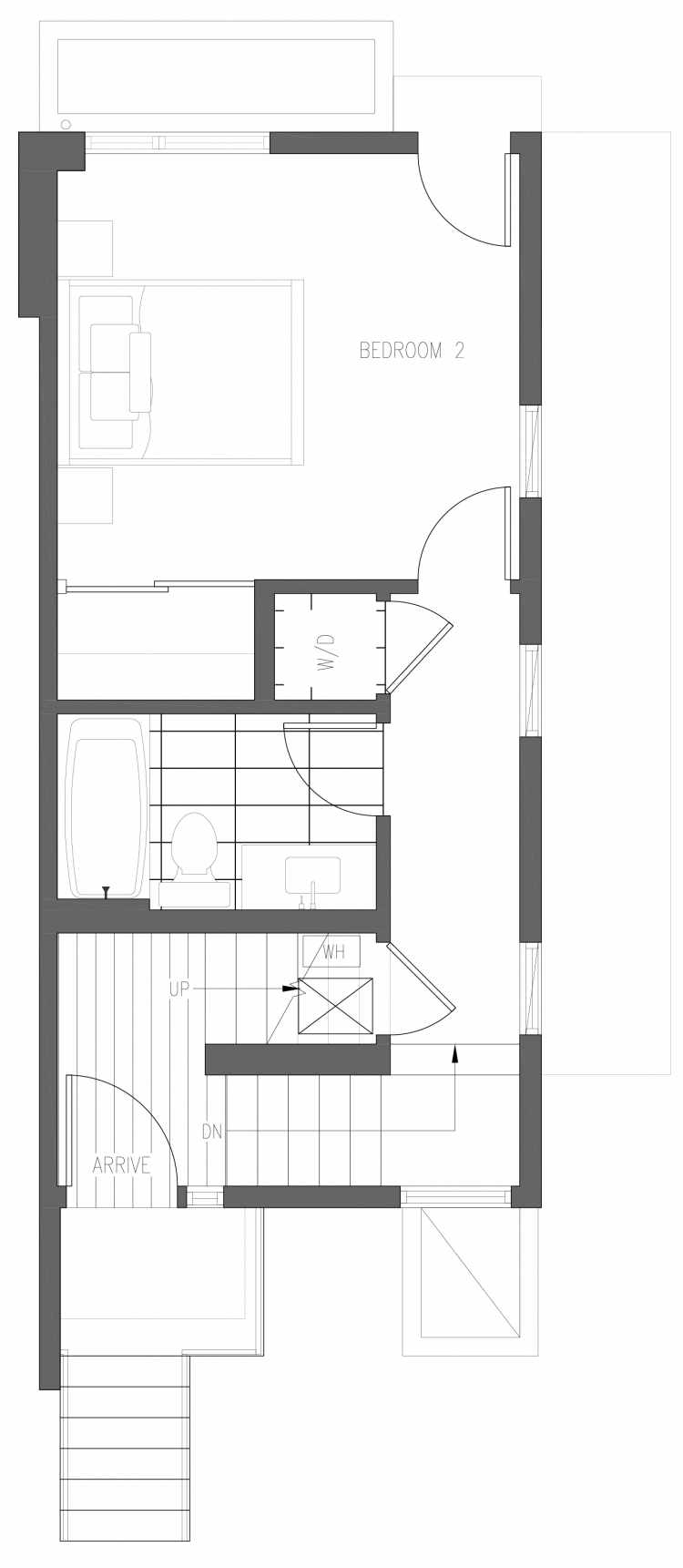 First Floor Plan of 6421 14th Ave NW, One of the Oleana Townhomes in Ballard by Isola Homes