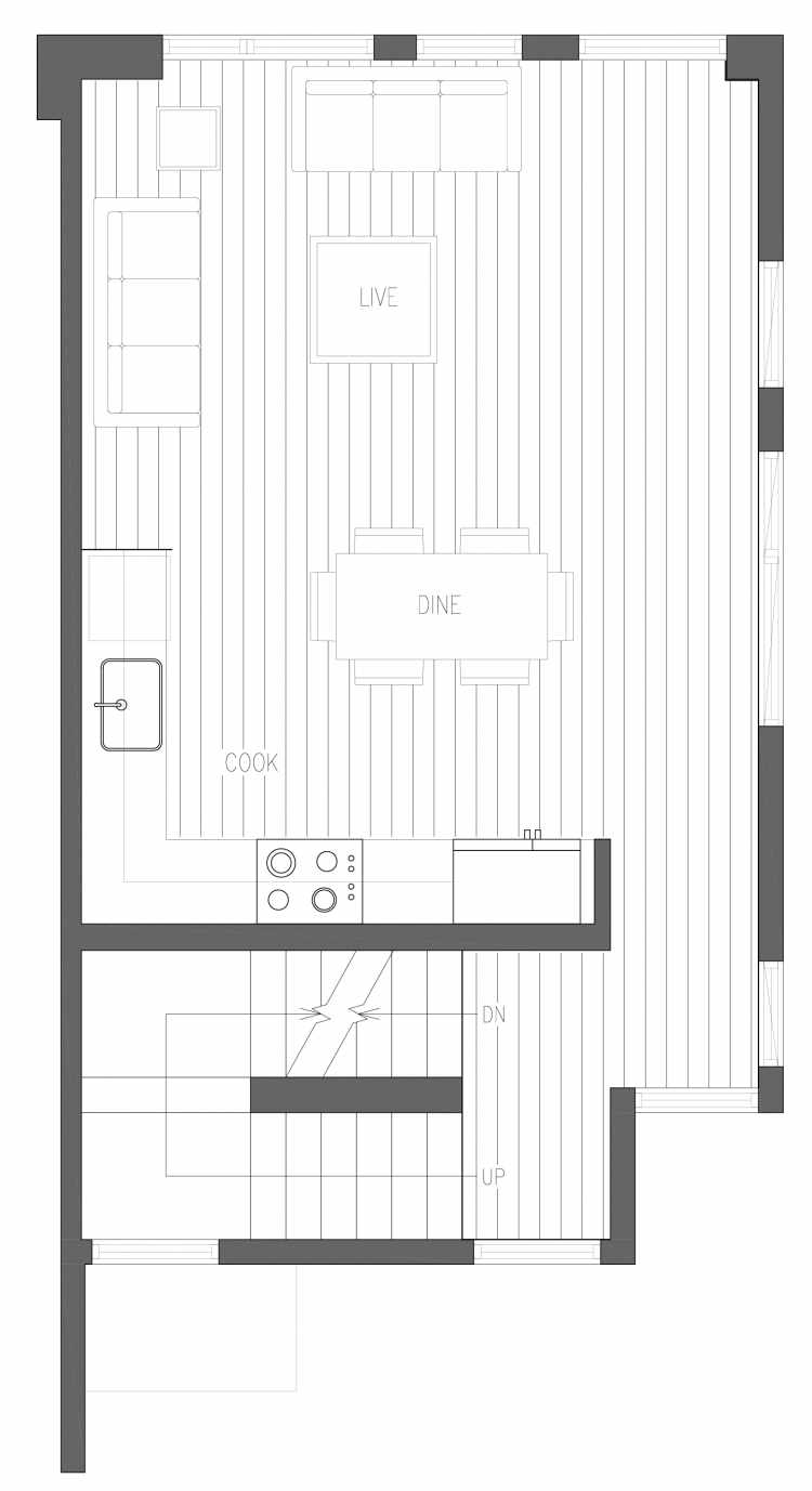 Second Floor Plan of 6421 14th Ave NW, One of the Oleana Townhomes in Ballard by Isola Homes