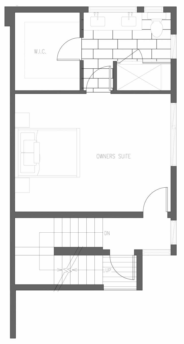 Third Floor Plan of 6421 14th Ave NW, One of the Oleana Townhomes in Ballard by Isola Homes