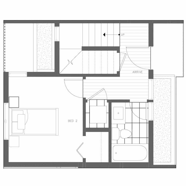 First Floor Plan of 6539E 4th Ave NE in the Bloom Townhomes at Green Lake