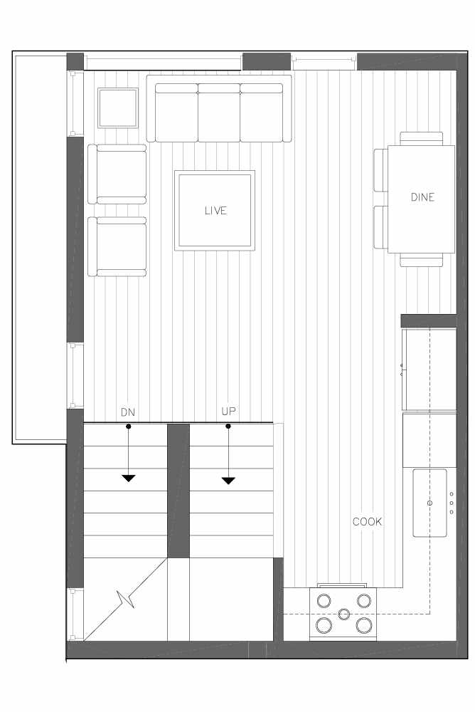 Second Floor Plan of 6539C 4th Ave NE in the Bloom Townhomes at Green Lake