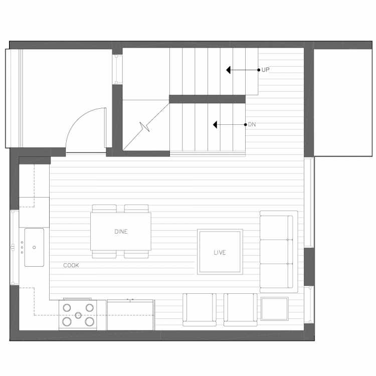 Second Floor Plan of 6539E 4th Ave NE in the Bloom Townhomes at Green Lake