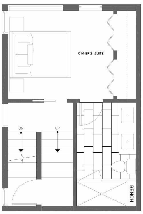 Third Floor Plan of 6539C 4th Ave NE in the Bloom Townhomes at Green Lake