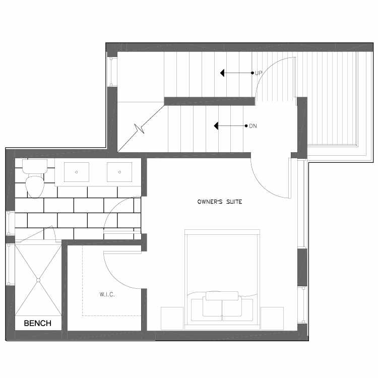 Third Floor Plan of 6539E 4th Ave NE in the Bloom Townhomes at Green Lake