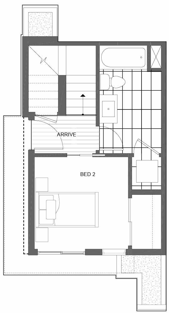First Floor Plan of 6539A 4th Ave NE in the Bloom Townhomes at Green Lake