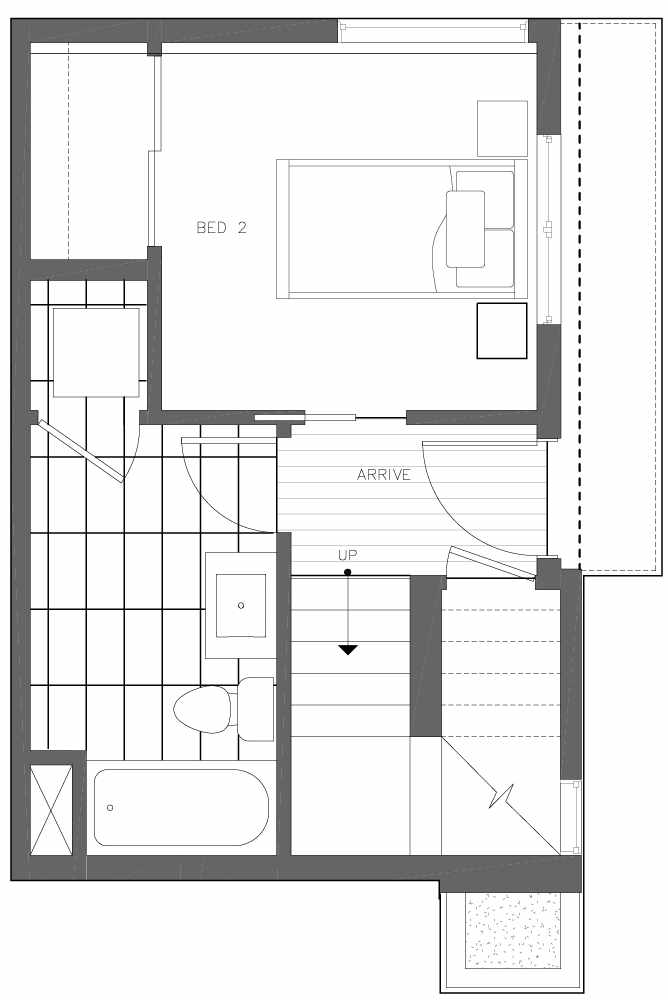 First Floor Plan of 6539D 4th Ave NE in the Bloom Townhomes at Green Lake