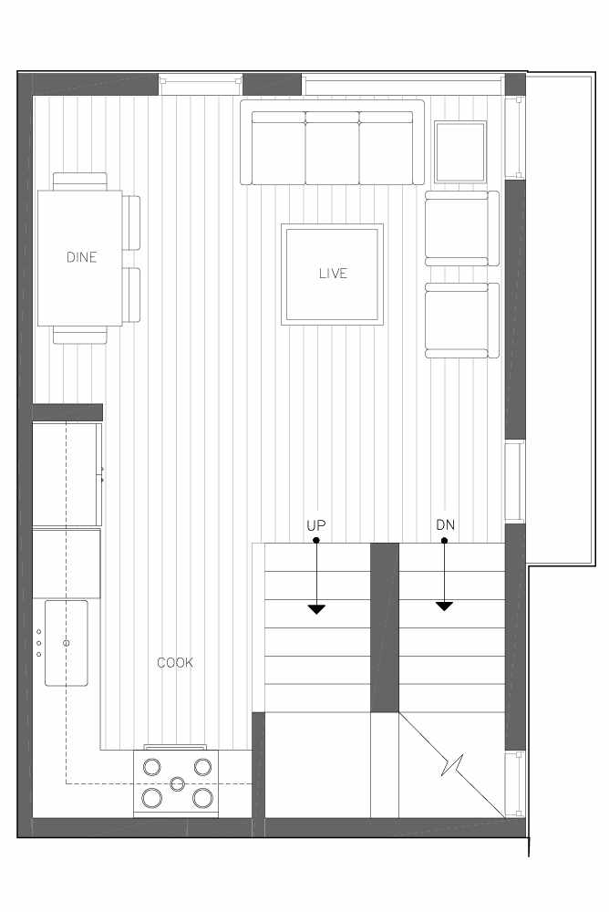 Second Floor Plan of 6539D 4th Ave NE in the Bloom Townhomes at Green Lake