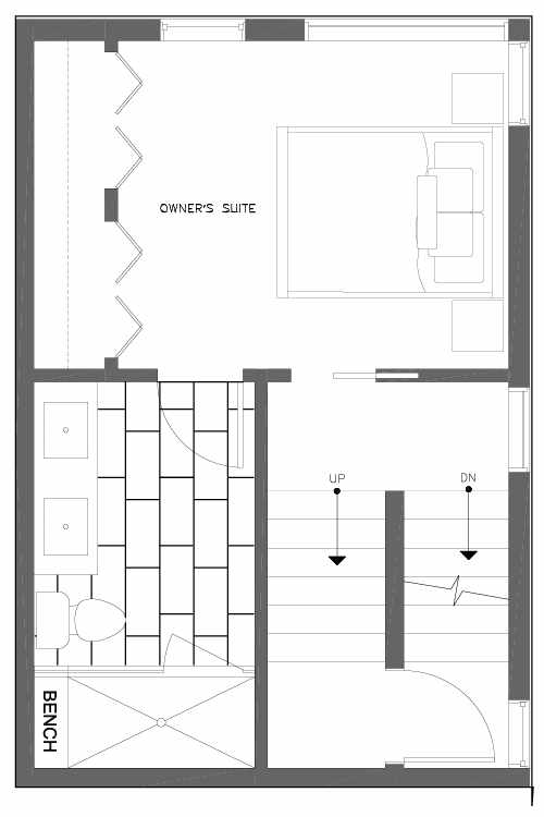 Third Floor Plan of 6539D 4th Ave NE in the Bloom Townhomes at Green Lake