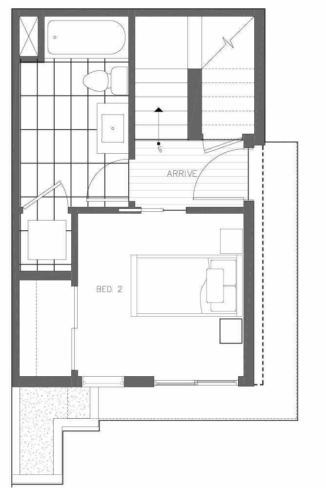 First Floor Plan of 6539F 4th Ave NE in the Bloom Townhomes at Green Lake