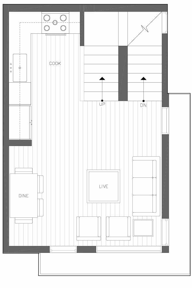 Second Floor Plan of 6539F 4th Ave NE in the Bloom Townhomes at Green Lake