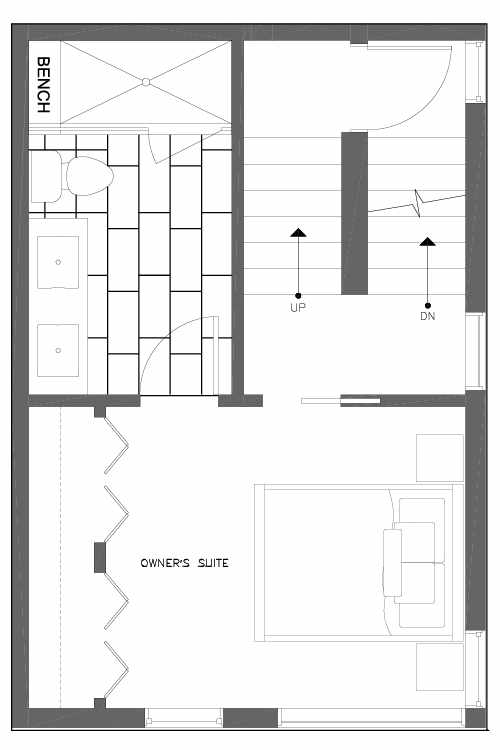 Third Floor Plan of 6539F 4th Ave NE in the Bloom Townhomes at Green Lake