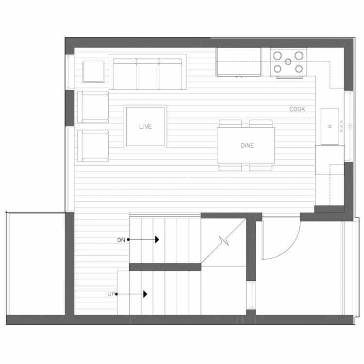 Second Floor Plan of 6539B 4th Ave NE in the Bloom Townhomes at Green Lake