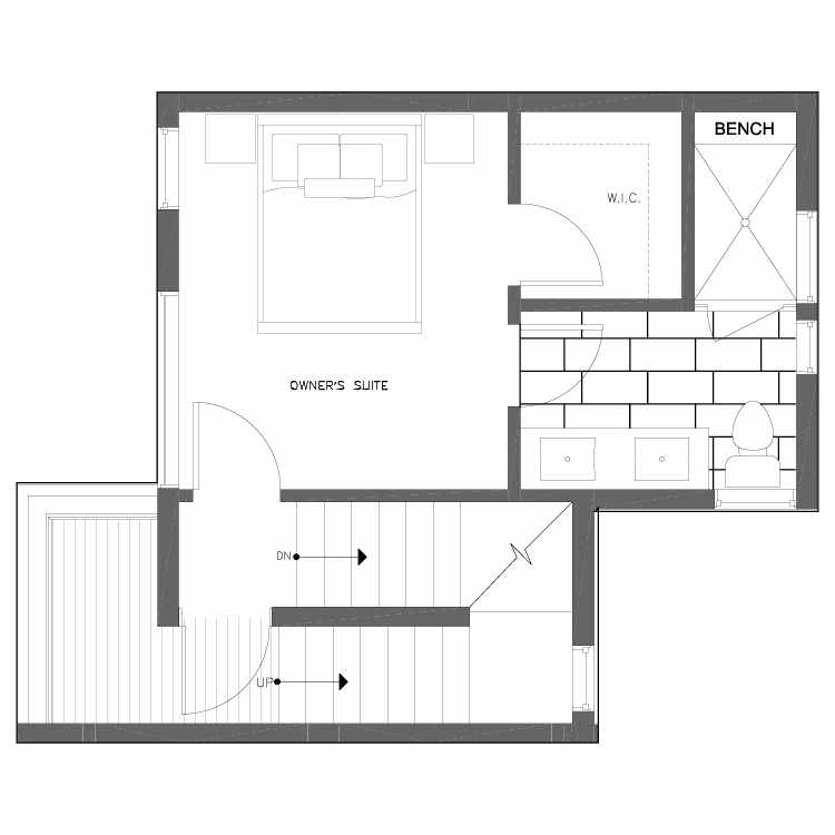 Third Floor Plan of 6539B 4th Ave NE in the Bloom Townhomes at Green Lake