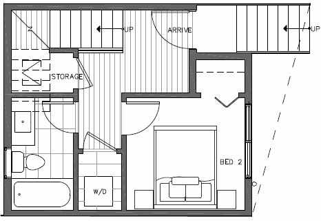First Floor Plan of 7213 5th Ave NE of the Verde Towns in Green Lake
