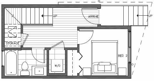 First Floor Plan of 7215 5th Ave NE of the Verde Towns in Green Lake