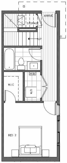 First Floor Plan of 7217 5th Ave NE of the Verde Towns in Green Lake
