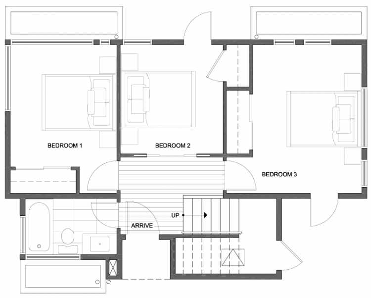 First Floor Plan of 807 N 47th St in Sunstone at Fremont by Isola Homes