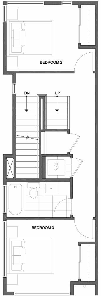 Second Floor Plan of 809C N 47th St in Sunstone at Fremont by Isola Homes