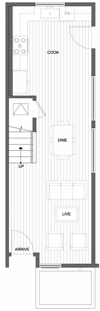 First Floor Plan of 809A N 47th St in Sunstone at Fremont by Isola Homes