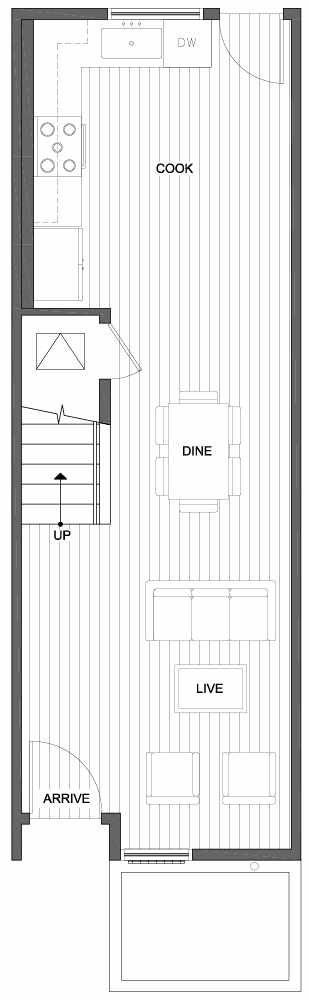 First Floor Plan of 809B N 47th St in Sunstone at Fremont by Isola Homes