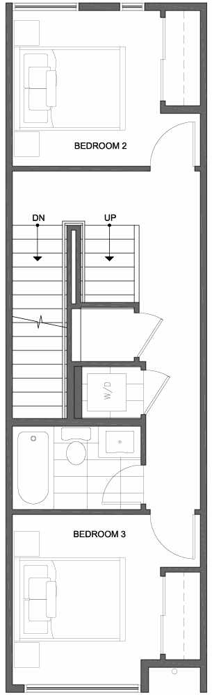 Second Floor Plan of 809B N 47th St in Sunstone at Fremont by Isola Homes
