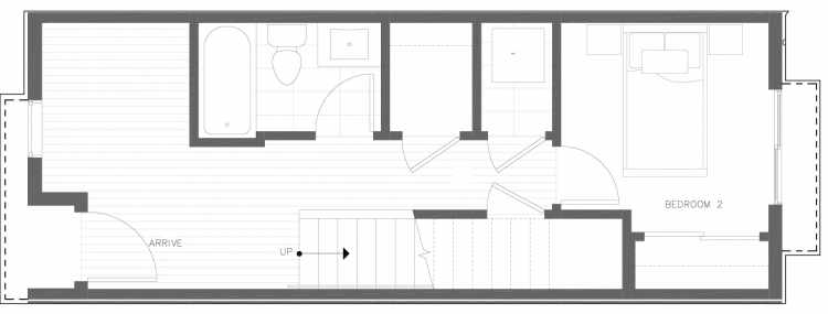 First Floor Plan of 818 NE 63rd St in Zenith Towns South by Isola Homes
