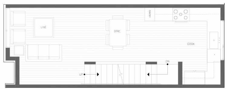 Second Floor Plan of 820 NE 63rd St in Zenith Towns South by Isola Homes