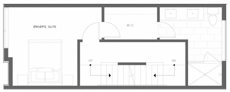 Third Floor Plan of 820 NE 63rd St in Zenith Towns South by Isola Homes