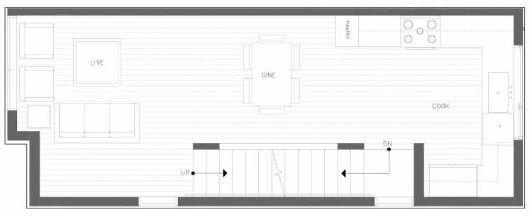 Second Floor Plan of 822 NE 63rd St in Zenith Towns South by Isola Homes
