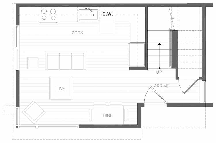 First Floor Plan of 8354A 14th Ave NW in the Thoren Townhomes