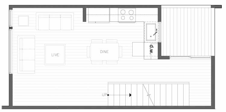 Second Floor Plan of 8354B 14th Ave NW in the Thoren Townhomes