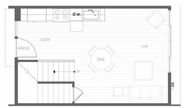 First Floor Plan of 8354D 14th Ave NW in the Thoren Townhomes