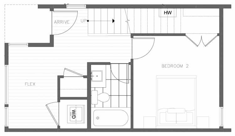 First Floor Plan of 8354E 14th Ave NW in the Thoren Townhomes
