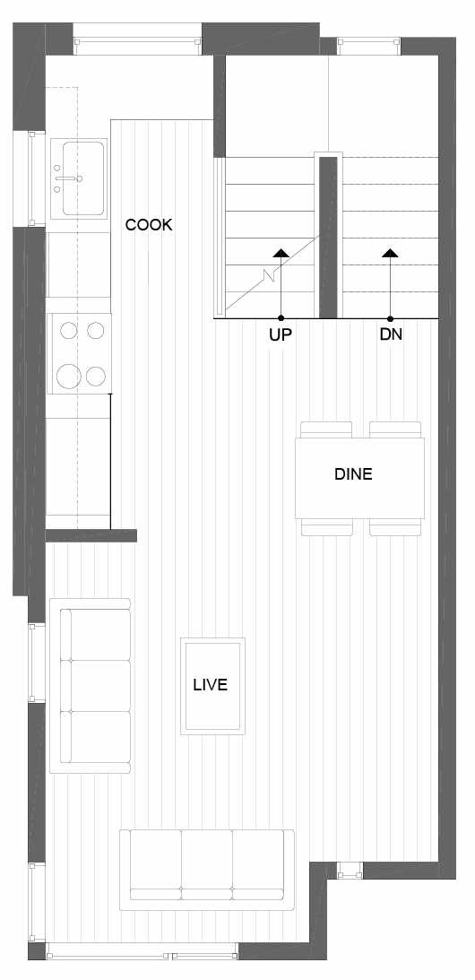Second Floor Plan of 8501 16th Ave NW, One of the Alina Townhomes in Crown Hill
