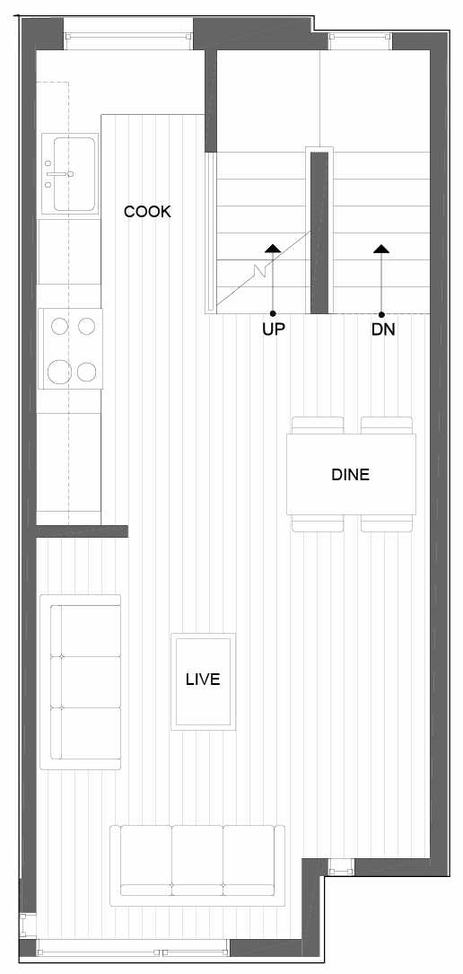 Second Floor Plan of 8503 16th Ave NW, One of the Alina Townhomes in Crown Hill
