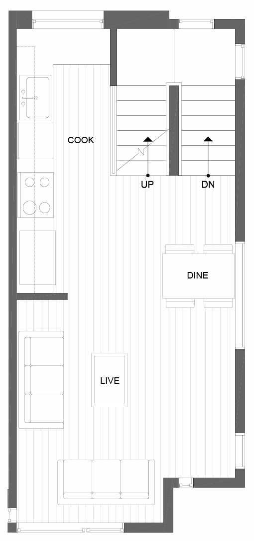 Second Floor Plan of 8507 16th Ave NW, One of the Alina Townhomes in Crown Hill