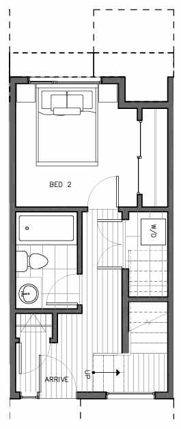 First Floor Plan of 8509B 16th Ave NW, One of the Ryden Townhomes in Crown Hill