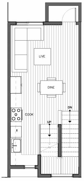 Second Floor Plan of 8509B 16th Ave NW, One of the Ryden Townhomes in Crown Hill