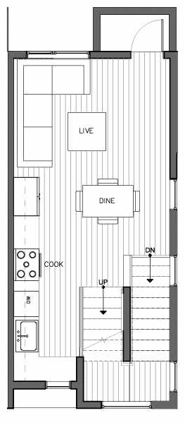 Second Floor Plan of 8509C 16th Ave NW, One of the Ryden Townhomes in Crown Hill
