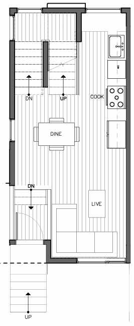 Second Floor Plan of 8511A 16th Ave NW, One of the Ryden Townhomes in Crown Hill