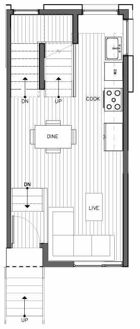 Second Floor Plan of 8511C 16th Ave NW, One of the Ryden Townhomes in Crown Hill