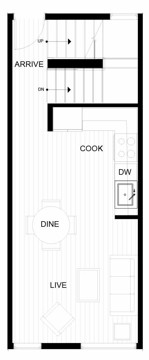 Second Floor Plan of 8547B Midvale Ave N, One of the Fattorini Flats Townhomes in Licton Springs by Isola Homes