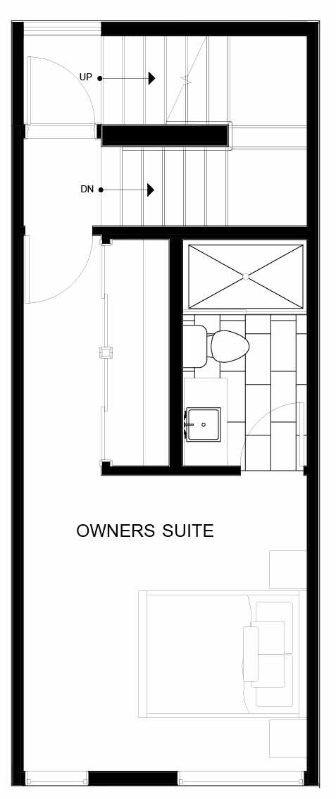 Fourth Floor Plan of 8547B Midvale Ave N, One of the Fattorini Flats Townhomes in Licton Springs by Isola Homes